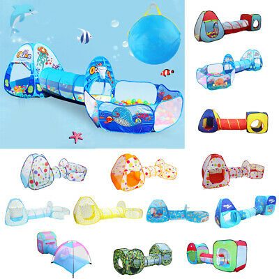 Portable Kids Indoor & Outdoor 3-in-1 Play Tent with Ball Pit Pool & Tunnel