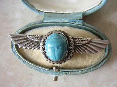 Art Deco Egyptian Revival Winged Scarab Brooch Pin Turquoise Pottery Faience