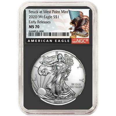 2020 (W) $1 American Silver Eagle NGC MS70 Black ER Label Retro Core