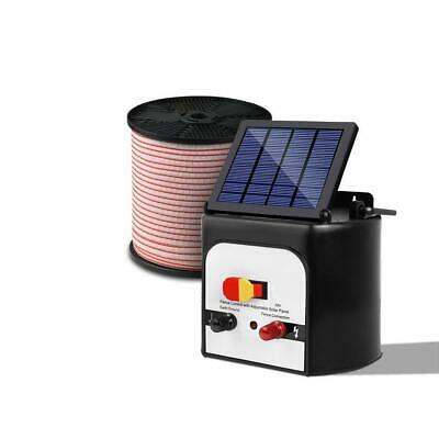 Giantz 8km 0.3J Solar Electric Fence Energiser Energizer Charger with 400M Tape,