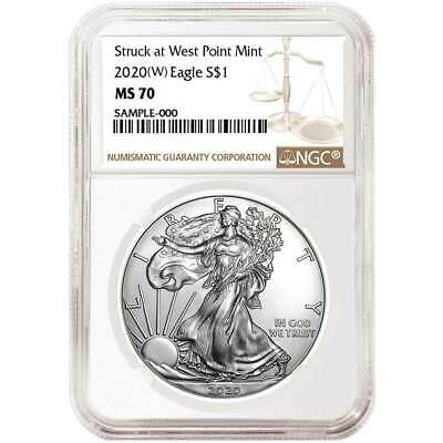 2020 (W) $1 American Silver Eagle NGC MS70 Brown Label