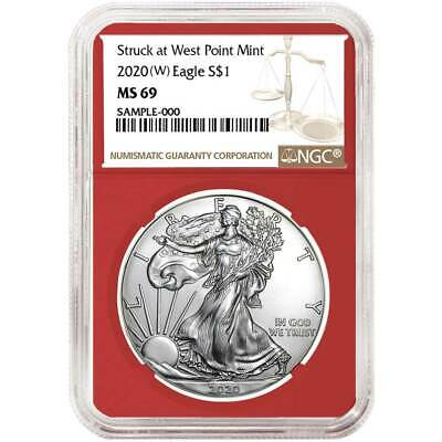 2020 (W) $1 American Silver Eagle NGC MS69 Brown Label Red Core