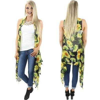 Sunflower Vest with Tassels - One Size