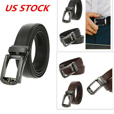 2Colors Mens Genuine Leather Belt Ratchet Belt Adjustable Autonomic Belt Buckle
