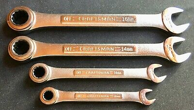 4 Craftsman Metric Ratcheting Gear Type Wrenches 30 Teeth Usa Made 8,10,14,15Mm