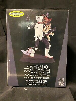 Gentle Giant 2012 Star Wars Animated Maquette Biker Scout Trooper Ewok Attack