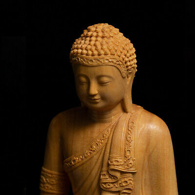 """3.9"""" Boxwood Wood Carving Buddha Hand Carved Statue Amulet Decor Figurines Craft"""