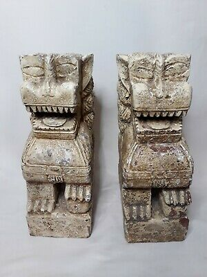Pair Antique Vintage Chinese Primitive Wood Carved Statue Foo Dogs Lions ca 1900