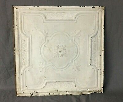 "Antique Decorative Tin Metal Ceiling 2' x 2' Shabby Vtg 24"" SQ Chic Old 187-19B"