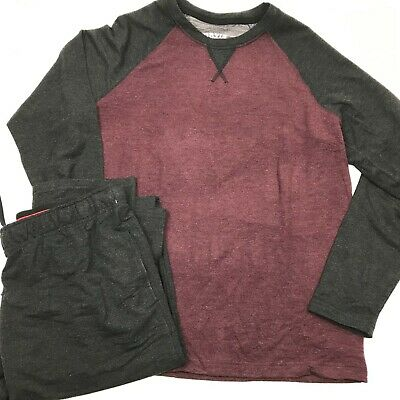 NEW ORVIS Men's 2 piece ESSENTIAL Lounge Set Grey/Maroon Pajama Sleep wear L