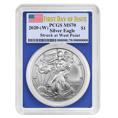 2020 (W) $1 American Silver Eagle PCGS MS70 FDOI Flag Label Blue Frame