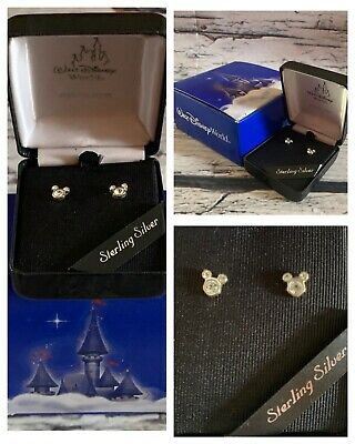 Disney World Parks Mickey Mouse Sterling Silver Swarovski Crystal Earrings w Box