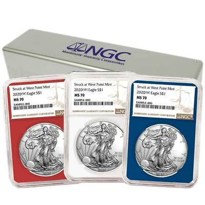 2020 (W) $1 American Silver Eagle 3 pc. Set NGC MS70 Brown Label Red White Blue