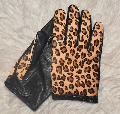 Banana Republic Dyed Leopard Calf Hair Leather Driving Gloves