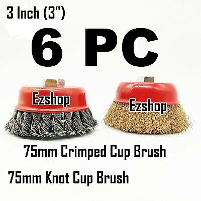 "6 Wire Cup Brush 3"" (75mm) for 4-1/2"" (115mm) Angle Grinder Twist Knot Crimped"