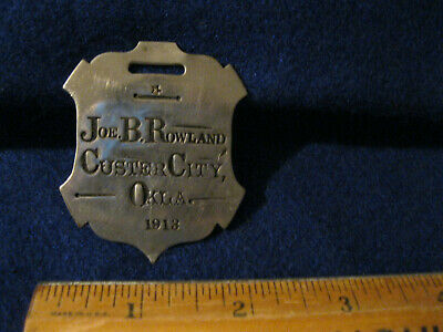 Rare large Personal ID watch fob or luggage tag Rowland Custer City Okla 1913