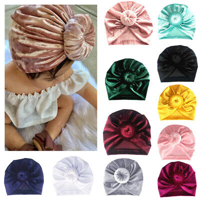 Newborn Baby Girls Turban Hat Bow Knot Flower India Cap Wrap Headband Headwear