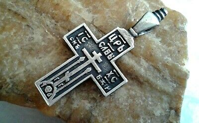 """ANTIQUE or VINTAGE STERLING SILVER """"925"""" ORTHODOX """"OLD BELIEVERS"""" CROSS PSALM 68"""