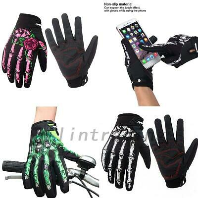 Men Motorcycle Racing Cycling Gloves Winter Warm Skull Bone Touch screen Gloves