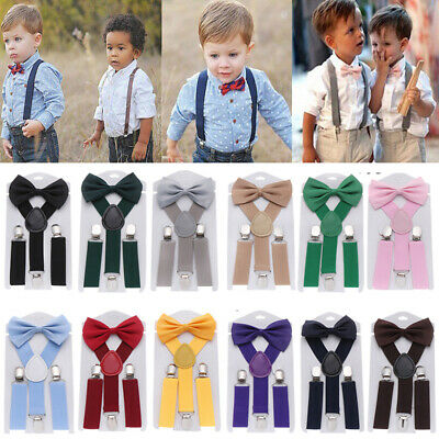 Elastic Braces Suspenders for Boys Girls With Printed Bow Tie Clip-on Adjustable