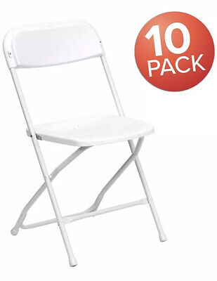 New Commercial White Plastic Folding Chairs Stackable (Set of 10)