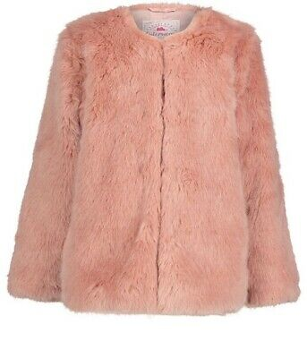 George Asda Dusty Pink Girls Age 13-14 Fur Coat New Without Tags