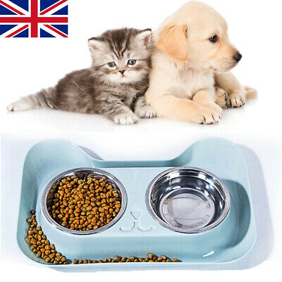 Stainless Steel Double Bowl Non Slip Small Twin Pet Cat Dog Bowl Mat Water Food