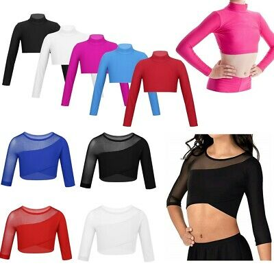 Girls Lycra Long Sleeved Crop Top Solid Shirt Dance Performing Sports Costume