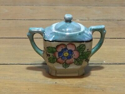Foreign floral small sugar bowl with lid