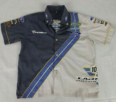 Kids Size 6 Shirt Beige Blue Short Sleeve Ford Racing V8 Supercars Patches