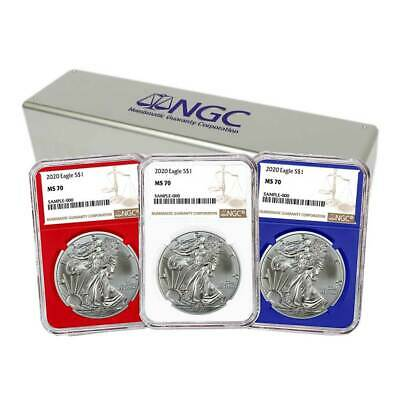 2020 $1 American Silver Eagle 3pc. Set NGC MS70 Brown Label Red White Blue