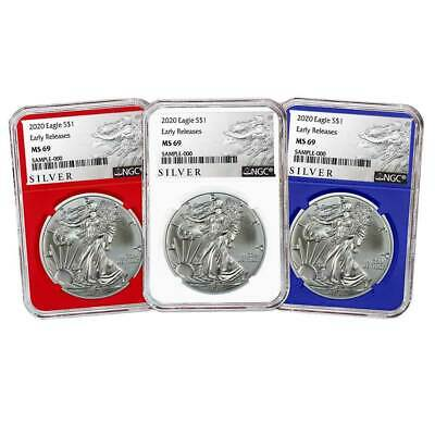 2020 $1 American Silver Eagle 3pc. Set NGC MS69 ALS ER Label Red White Blue