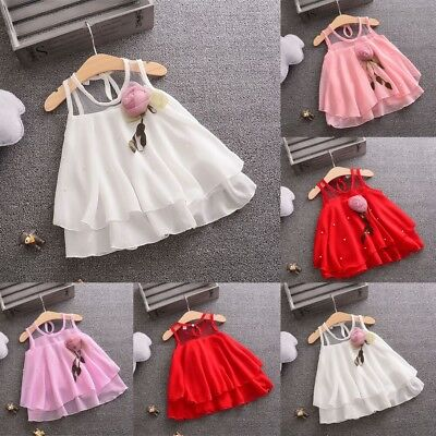 Toddler Baby Girl Sleeveless Tulle Skirt Flowers Weeding Party Princess Dress V8