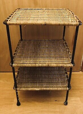 Mid Century Wicker Stool / Shelving