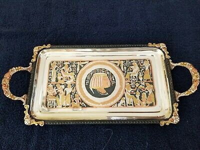 """Authentic Egyptian Brass Decorative Tray w/Handles Gold and Silver 16"""" x 7 1/2"""""""