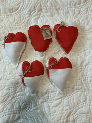 5 Primitive Antique Red White Quilt Hearts Bowl Filler Ornies Love One Another