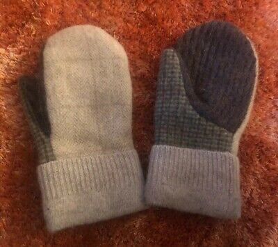 Handmade Felted Wool Plaid Mittens made from upcycled sweaters fleece lined
