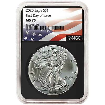 2020 $1 American Silver Eagle NGC MS70 FDI Flag Label Retro Core