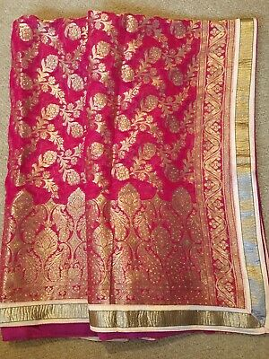 Hot Pink Printed Gold Embroidery and Sequinned Suit Dupatta with Gold Border