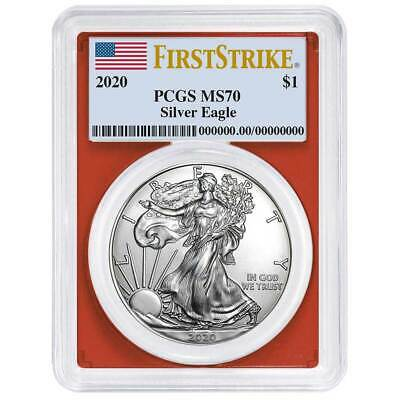 2020 $1 American Silver Eagle PCGS MS70 First Strike Flag Label Red Frame