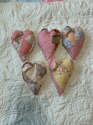 5 Primitive Antique Quilt Hearts Bowl Filler Ornies Family Is Everything