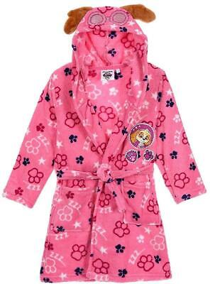 Girls HS2084 Paw Patrol Hooded Coral Fleece Dressing Gown Size: 3-6 Years