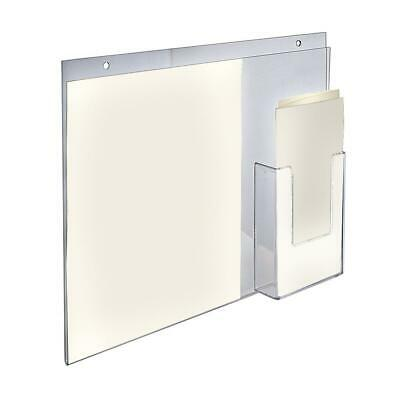 14 In. W X 11 In. H Wall Mount Vertical Sign Holder With Brochure Pocket (2-Pack