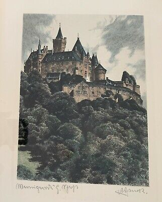 Etching / Aquatint Of European Castle, Original And Signed.
