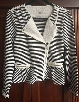 Girls Mayoral Navy-Ivory-Lace Striped Jacket Long Sleeves Zippers Sz 16 Mint