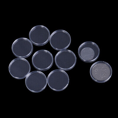 10Pcs 26mm plastic round applied clear cases coin storage capsules holder L_X