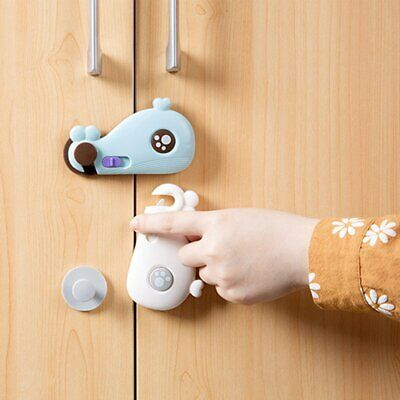 Whale Shaped Cabinet Security Lock Baby Care Buckle for Door Drawer Wardrobe cE