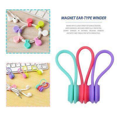 3pcs Multifunction Magnetic Earphone Cord Winder Cable Holder Organizer Clips cE