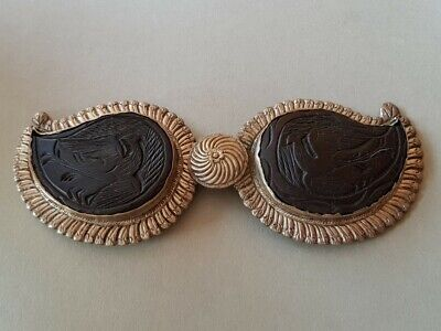 ANTIQUE Ottoman with phoenixes Hand-carved buffalo horn silver alloy belt buckle