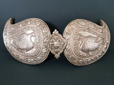 ANTIQUE Ottoman jewelry Hand-forged and engraved silver alloy belt buckle birds